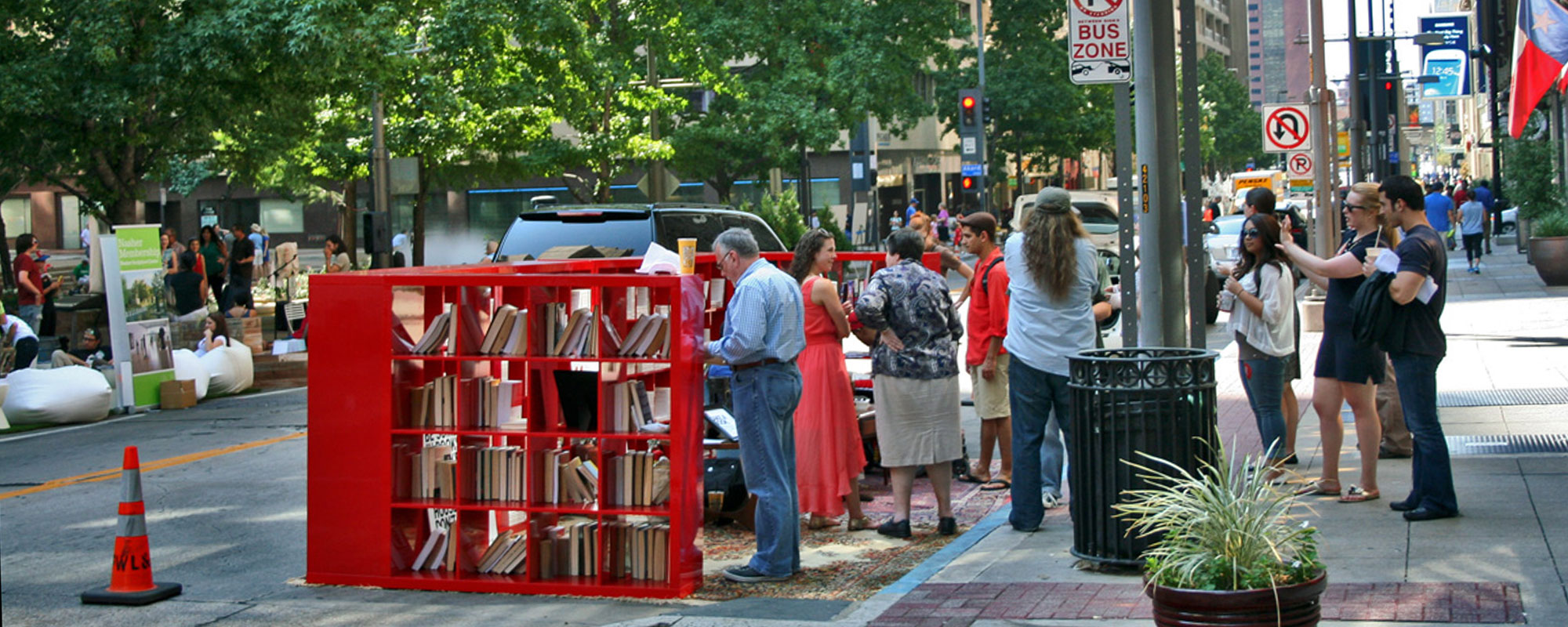 D Magazine created a public library in their parklet.